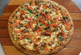 The Pesto Bacon Club Pizza